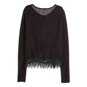 H&M Divided cropped black sweater with lace trim
